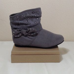 Girl's Piper Grey Booties with Bow